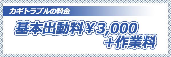 基本出動料…3,000円+作業料